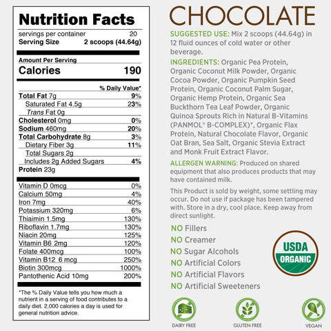 Certified Organic Plant Based Protein - Chocolate
