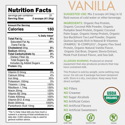 Certified Organic Plant Based Protein - Vanilla Flavor