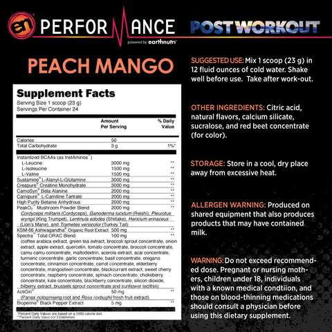 EN Performance Peach Mango Post Workout Supplement Fact Image