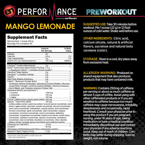 En Performance Mango Lemonade Supp Facts Image
