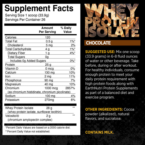 Whey Protein Isolate Powder with 2g of Velositol chocolate supplements facts