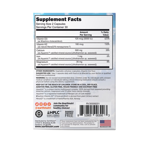D-fense + K2 Supplement Facts Box back