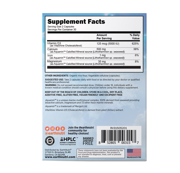 earthnutri - D-fense Supplement Facts, back of box