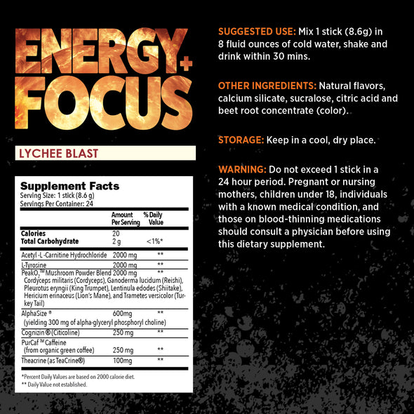 earthnutri Energy+Focus Lychee Blast Supplement Facts