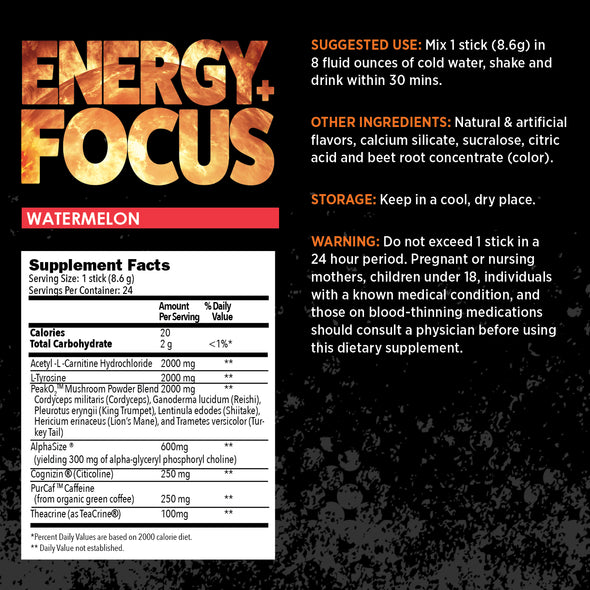 earthnutri Energy+Focus Watermelon Supplement facts