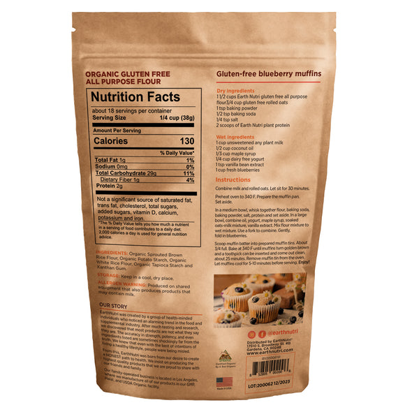 earthnutri - gluten-free flour - Nutrition Facts, back of package