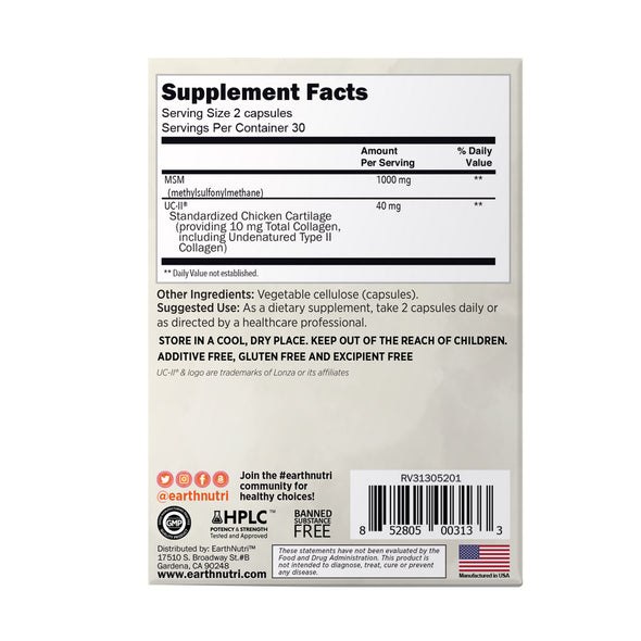 earthnutri - Joint supplememt facts, back of box
