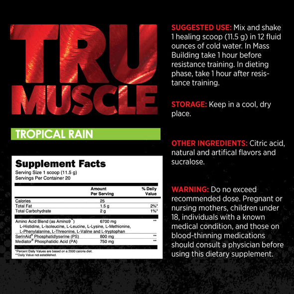 earthnutri - TruMuscle Vegan Supplement Fact