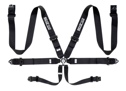 "Sparco Seat Belt Harness 6PT 3"" Steel Snap-In Competition Black Universal"