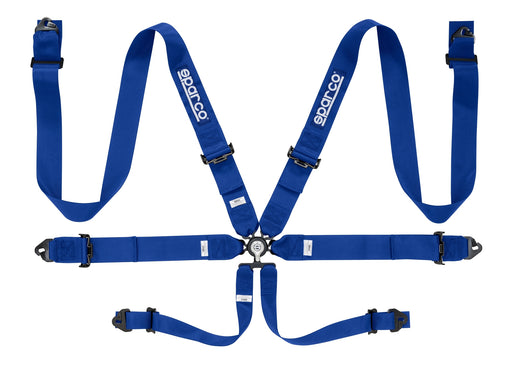 "Sparco Seat Belt Harness 6PT 3"" Steel Snap-In Competition Blue Universal"