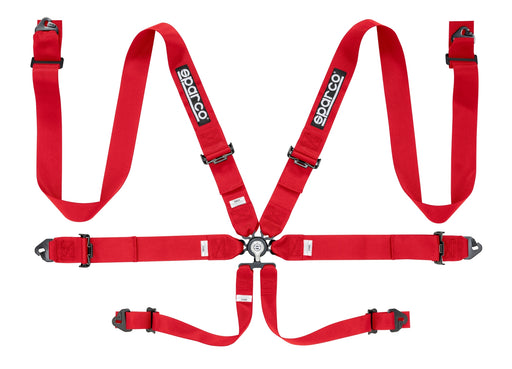 "Sparco Seat Belt Harness 6PT 3"" Steel Snap-In Competition Red Universal"
