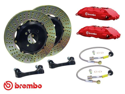 Brembo Gran Turismo 6 Piston Front Brake Kit Red Drilled Rotors Subaru 2004-2017 STI