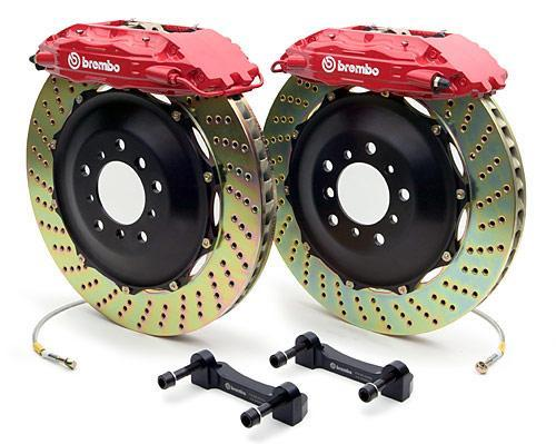 Brembo Gran Turismo 6 Piston Front Brake Kit Red Slotted Rotors Subaru 2004-2014 STI