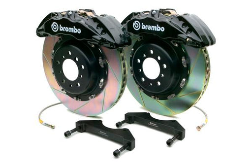 Brembo Gran Turismo 6 Piston Front Brake Kit Black Slotted Rotors Subaru 2008-2014 WRX