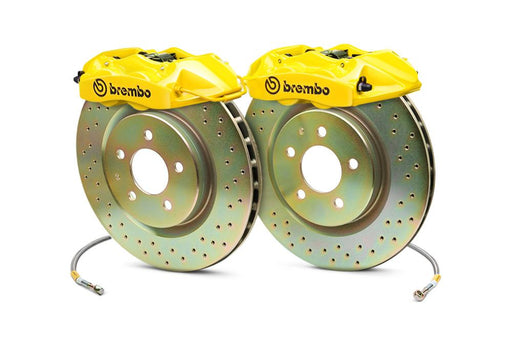 Brembo Gran Turismo 6 Piston Front Brake Kit Yellow Drilled Rotors Subaru 2008-2014 WRX