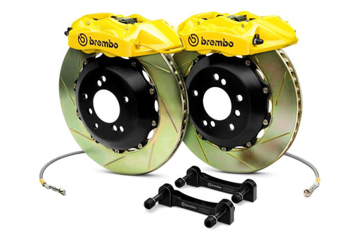 Brembo Gran Turismo 6 Piston Front Brake Kit Yellow Slotted Rotors Subaru 2004-2014 STI