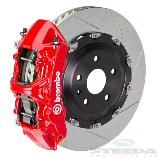 Brembo Gran Turismo 6 Piston Front Brake Kit Red Slotted Rotors Subaru 2008-2014 WRX