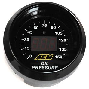 AEM 52mm Digital Oil Pressure Gauge 0-150 PSI Universal