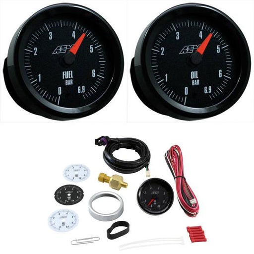 AEM 52mm Analog Oil or Fuel Pressure Gauge (Metric) Black / White Face  0-6.9 BAR Universal