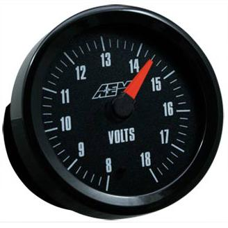 AEM 52mm Analog Voltmeter Gauge (US Units) Black / White Face 8-18V Universal