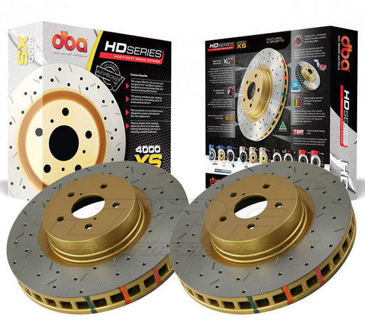 DBA Brakes 4000 Series Front Rotors Drilled And Slotted (Pair) Subaru 2002-2014 WRX / 2013-2019 BRZ