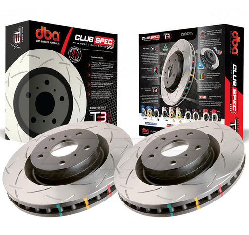 DBA Brakes 4000 Series Rear T-Slot Slotted Rotor w/Out Eyesight (Pair) Subaru 2008-2020 WRX