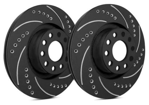 SP Performance Drilled & Slotted Zinc Black Front Rotors (Pair) Subaru 2009-2014 WRX