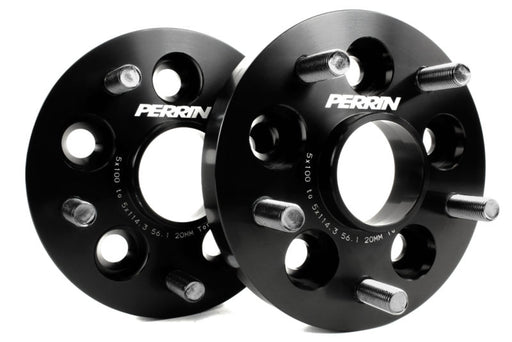 Perrin Wheel Adapter 20mm Bolt-On Type 5x100 to 5x114.3 w/ 56mm Hub (Set of 2) Black Subaru 2002-2014 WRX / 2004 STI / 2013-2020 BRZ