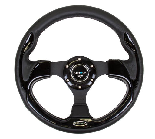 NRG 320mm Sport Leather Steering Wheel w/ Black Inserts Universal
