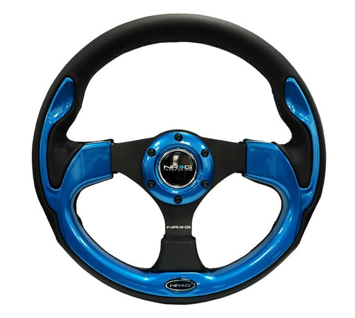 NRG 320mm Sport Leather Steering Wheel w/ Blue Inserts Universal