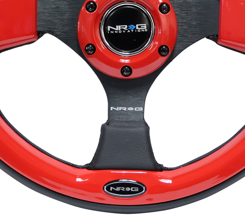 NRG 320mm Sport Leather Steering Wheel w/ Red Inserts Universal