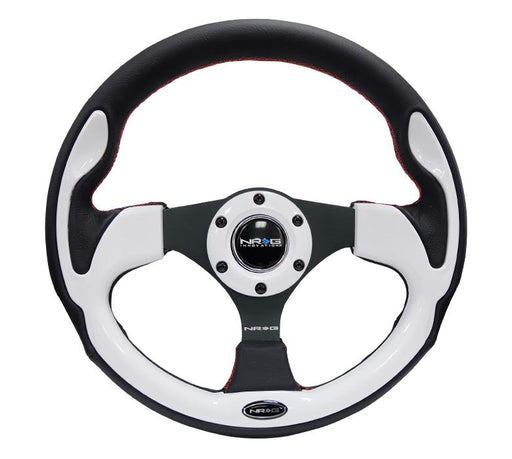 NRG 320mm Sport Leather Steering Wheel w/ White Inserts Universal
