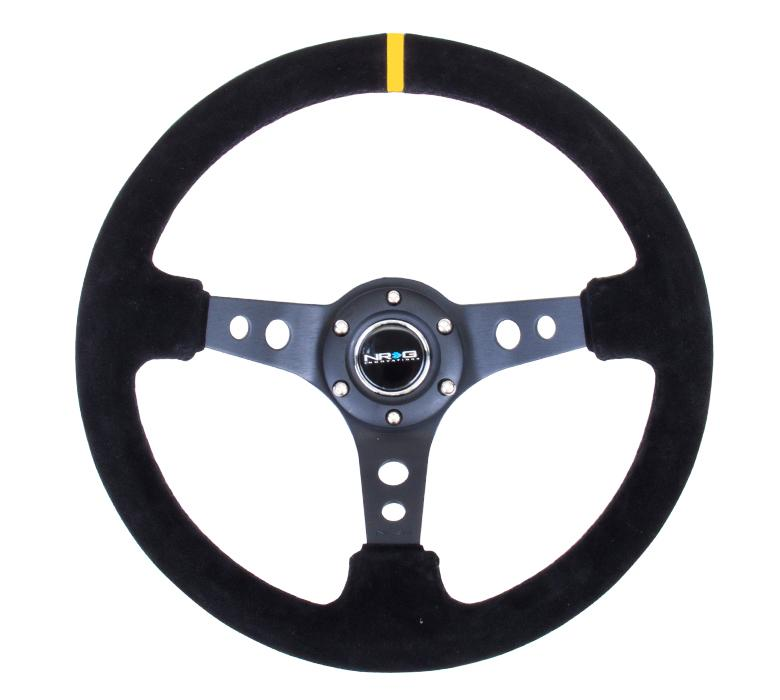 "NRG 350mm Sport Steering Wheel 3"" Deep Suede w/ Yellow Center Marking Universal"
