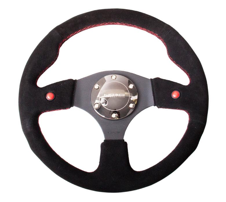 NRG 320mm Sport Suede Steering Wheel w/ 2 Button Universal