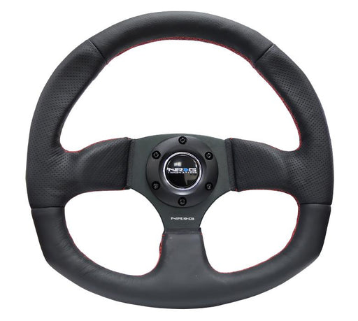 NRG 320mm Sport Leather Steering Wheel Oval w/ Red Stitching Universal