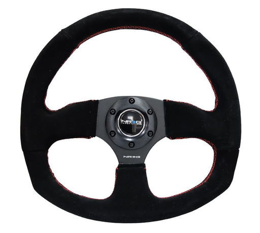 NRG 320mm Sport Suede Steering Wheel Oval w/ Red Stitching Universal
