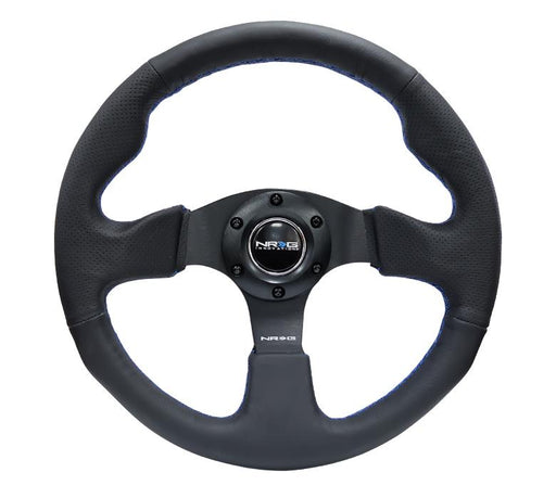 NRG 320mm Sport Leather Steering Wheel w/ Blue Stitching Universal