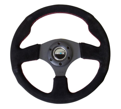 NRG 330mm Sport Suede Steering Wheel w/ Red Stitching Universal