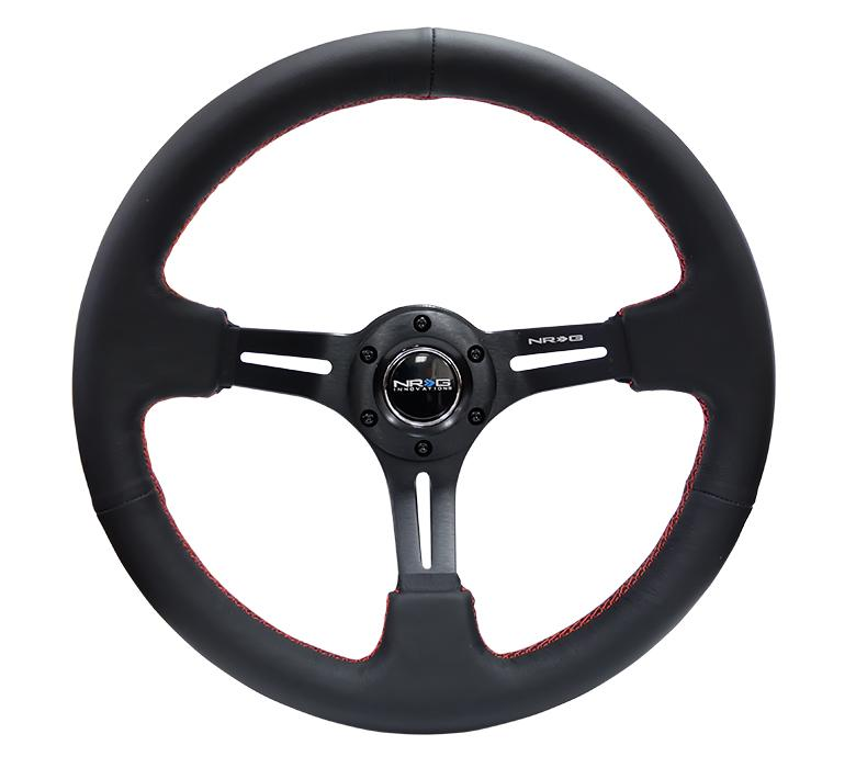 "NRG 350mm Sport Steering Wheel 2"" Deep Black Leather w/ Red Stitching Universal"