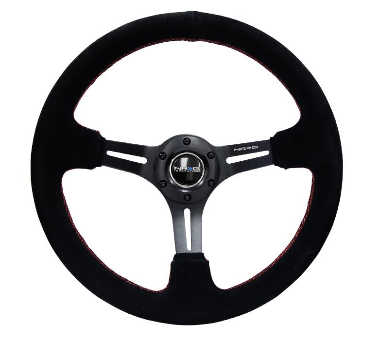 "NRG 350mm Sport Steering Wheel 2"" Deep Suede w/ Red Stitching Universal"
