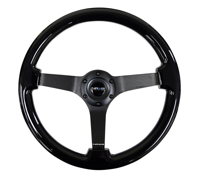 NRG 350mm Steering Wheel Vintage Black Wood Grain Finish Universal