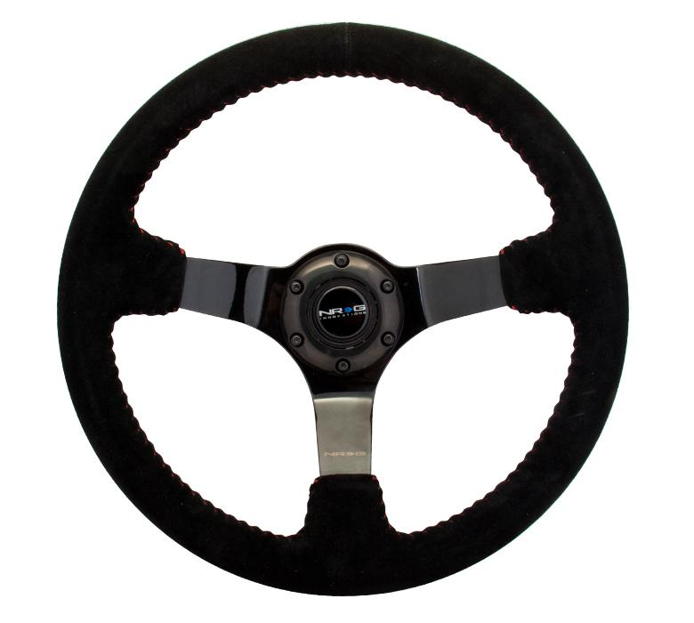 NRG 350mm Steering Wheel Black Suede w/ Red Baseball Stitching Universal