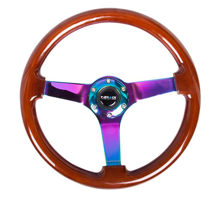 NRG 350mm Steering Wheel Vintage Wood Grain Finish Neo Chrome Center Universal
