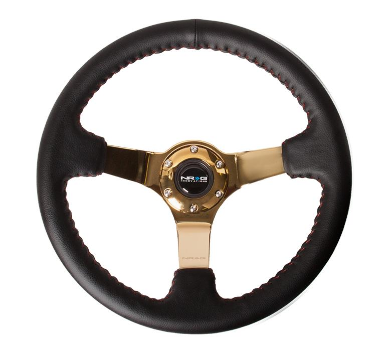 "NRG 350mm Sport Steering wheel 3"" Deep Black Leather w/ Red Baseball Stitching Chrome Gold Center Universal"