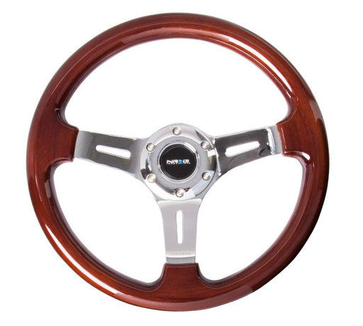 NRG 330mm Steering Wheel Classic Wood Grain 3 Spoke Center In Chrome Universal