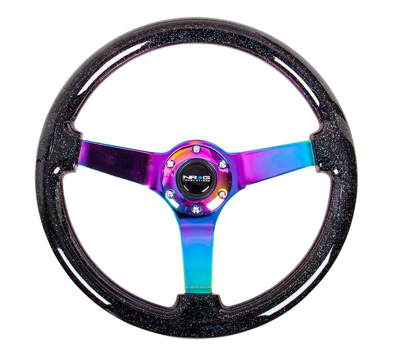 "NRG 350mm Steering Wheel 3"" Black Sparkled Wood Grain 3 Solid Spoke Center In Neochrome Universal"
