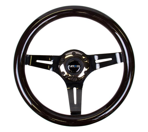 NRG 310mm Steering Wheel Classic Black Wood Grain 3 Spoke Center In Black Chrome Universal