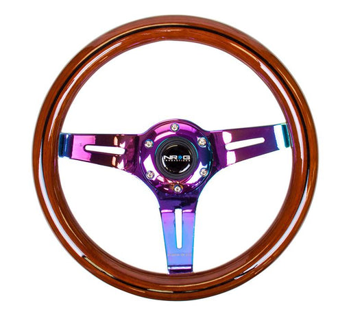 NRG 310mm Steering Wheel Classic Dark Wood Grain Black Line Inlay 3 Spoke Center In Neochrome Universal