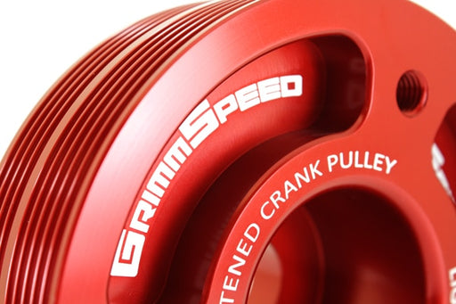 GrimmSpeed Lightweight Crank Pulley Red Subaru 2002-2014 WRX / 2004-2019 STI