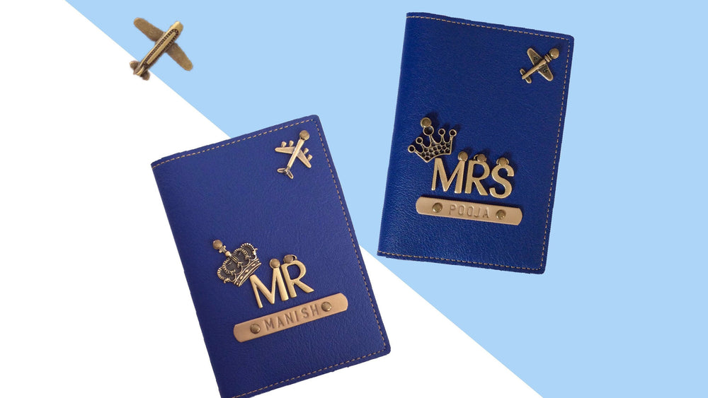 Passport cover with Mr & Mrs charm symbol